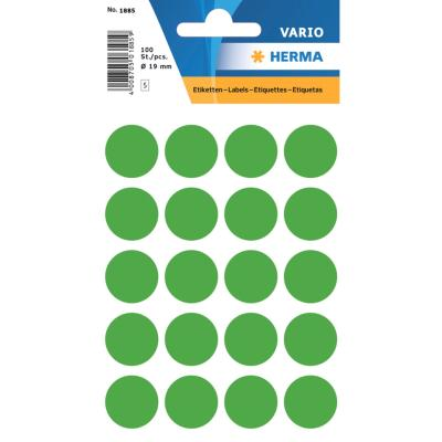 VARIO Round Labels, Ø 19 mm Dots, Dark Green