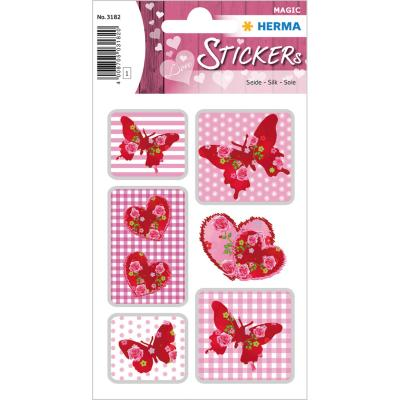 Stickers MAGIC coeurs de rose, soie