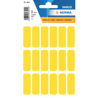 VARIO Rectangular Labels, 12x34 mm, Yellow