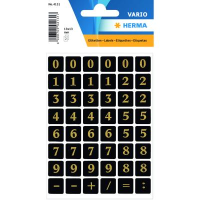 VARIO Numbers (0-9) 13x13 mm, Gold/Black