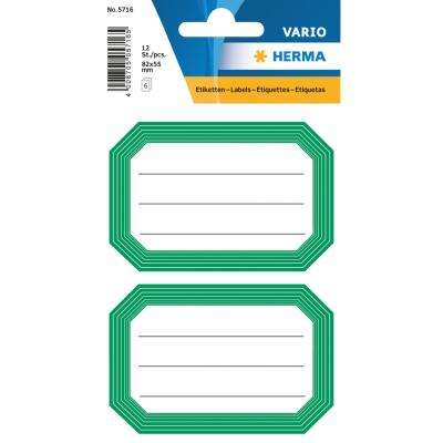 VARIO Neutral Labels, Green Frame, Lined