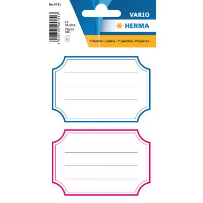 VARIO Neutral Labels, Blue/Red Frames, Lined