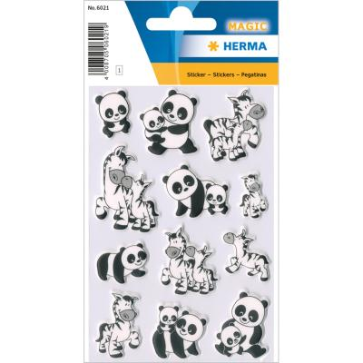 Stickers MAGIC Familles De Panda Et Zèbre, Foam