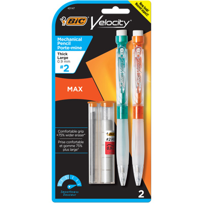 Velocity Max Mechanical Pencil 0.9mm HB2, x2