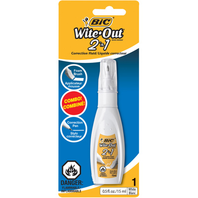 Wite-Out Correction Fluid, 2-In-1, 15ml